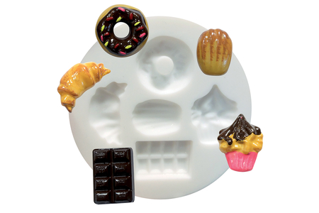 "Moule silicone ""Gourmandises"" - 5 formes - Décorations Fimo – 10doigts.fr"