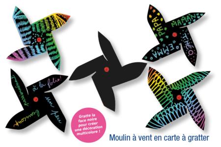 Moulin à vent en carte à gratter + 1 grattoir - Arc-en-ciel – 10doigts.fr