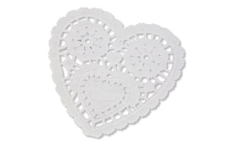 Napperons dentelle coeur en papier - Lot de 30 pcs - Divers – 10doigts.fr