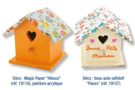 Boite à dragées nichoir - Décoration tissu imprimé adhésif - Décoration d'objets – 10doigts.fr