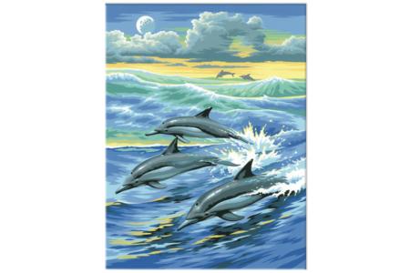 Tableau peinture au Numéro - Dauphins - Peinture par numéros – 10doigts.fr