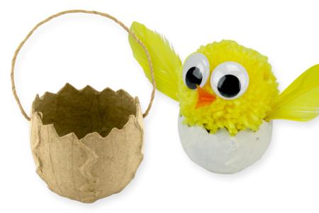 Panier oeuf de Pâques brisé en papier mâché - Supports de fêtes en carton – 10doigts.fr