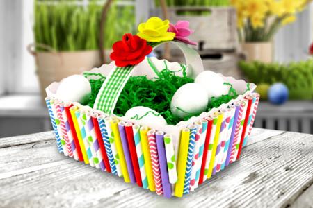Panier de Pâques à décorer avec des pailles en carton - Pâques - 10doigts.fr