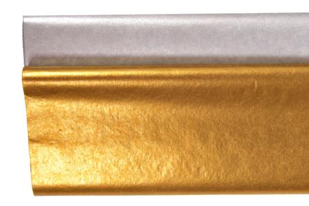 Papier de soie métallisé, 5 feuilles - Or ou Argent - Papiers de soie – 10doigts.fr