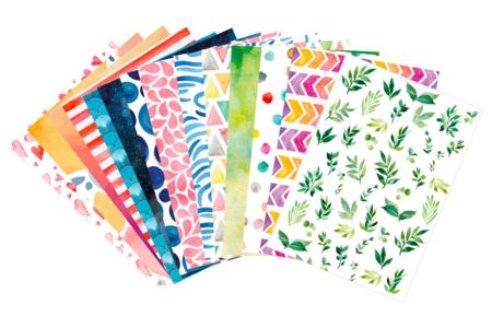 Cartes fortes motifs aquarelle - 14 designs assortis - Papiers motifs géométriques – 10doigts.fr