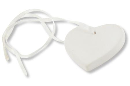 Pendentif coeur en terre cuite blanche - Bijoux – 10doigts.fr