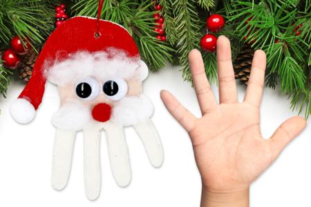 Suspension père Noël empreinte de main - Modelage – 10doigts.fr