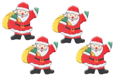 Pères Noël en bois décoré - Set de 12 - Motifs peints – 10doigts.fr
