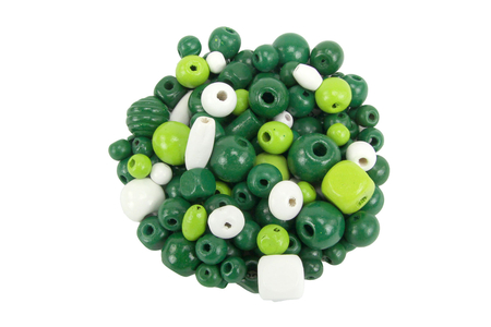 Perles en bois en camaïeu de vert - 70 perles - Perles en bois – 10doigts.fr