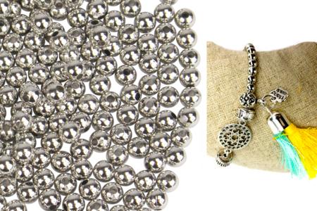 Perles rondes métallisées argentées - 1500 perles - Perles en plastique – 10doigts.fr