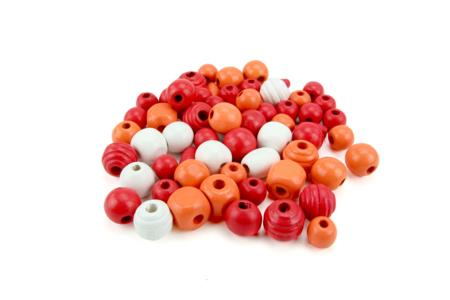 Perles en bois en camaïeu de rouge - 70 perles - Perles en bois – 10doigts.fr