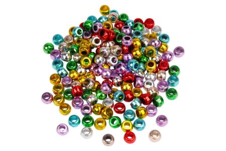 Perles métallisées à gros trou - 160 perles - Perles en plastique – 10doigts.fr