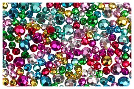 Perles rondes métallisées à facettes - 200 perles - Perles en plastique – 10doigts.fr