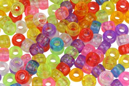 Perles translucides rondes à gros trou - 160 perles - Perles en plastique – 10doigts.fr