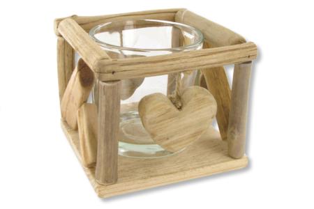 Photophore en verre + support coeur bois flotté - Déco de la maison – 10doigts.fr