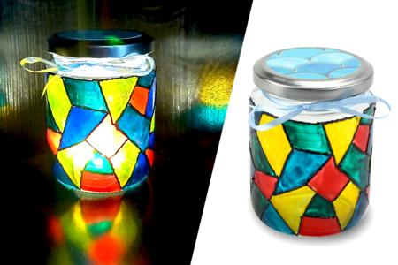 photophore peinture vitrail activité - Tête à Modeler