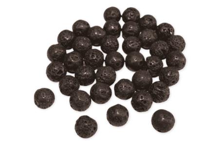 Perles de lave rondes Ø 10 mm - 20 perles - Perles Lithothérapie – 10doigts.fr