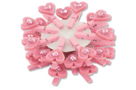 Pinces à linge cœur et strass - Lot de 24 - Pinces à linge fantaisie – 10doigts.fr