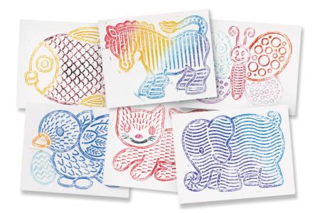 Plaques dessin relief animaux mignons - Set de 6 - Plaque relief – 10doigts.fr