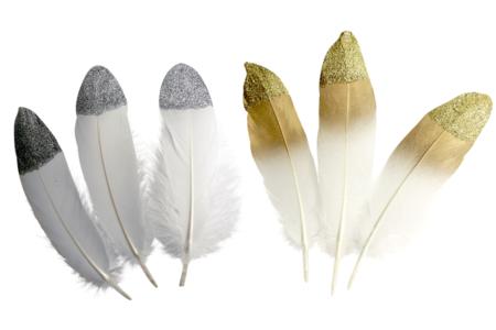 Plumes à bout pailleté - Set de 10 plumes - Plumes – 10doigts.fr