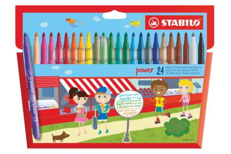 Feutres de coloriage Stabilo Power - 24 couleurs - 10doigts.fr