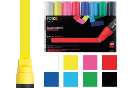 POSCA pointes extra-larges - 8 marqueurs - Feutres pointes larges – 10doigts.fr