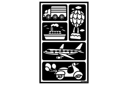 "Pochoirs adhésifs repositionnables ""Transport"" - Pochoirs Adhésifs – 10doigts.fr"
