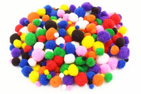 Pompons couleurs vives et tailles assorties - Pompons – 10doigts.fr