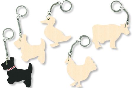 Porte-clefs animaux assortis, en bois naturel à décorer... - Tutos Porte-clés et Grigris – 10doigts.fr