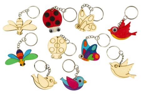 """Porte-clés en bois """"Printemps"""" - 5 animaux - Porte-clefs en bois – 10doigts.fr"""