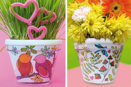 Pot de fleurs à décorer - Activités faciles à réaliser – 10doigts.fr