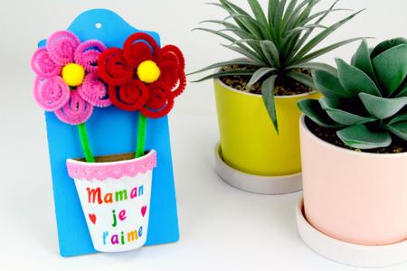 Pot de fleurs (à fabriquer avec des chenilles) - Fête des Mères – 10doigts.fr