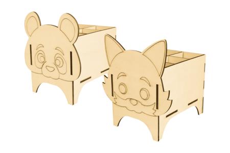 Pots à crayons panda et renard - Set de 2 - Pots à crayons – 10doigts.fr
