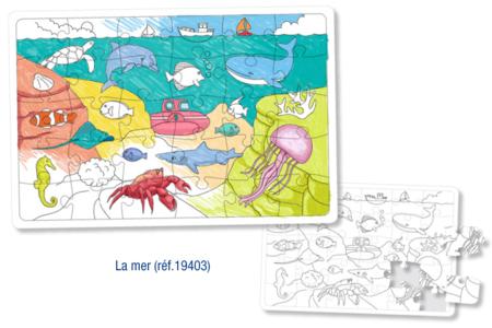 Puzzle à colorier - LA MER - Puzzle à colorier, dessiner ou peindre – 10doigts.fr