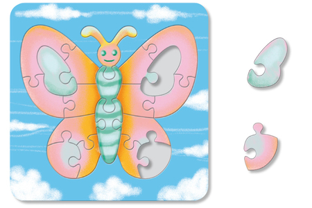 Puzzle Papillon à colorier - Puzzles à colorier, dessiner ou peindre – 10doigts.fr