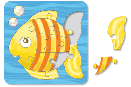 Puzzle en carton blanc à colorier, avec fond : POISSON - Puzzles à colorier, dessiner ou peindre – 10doigts.fr