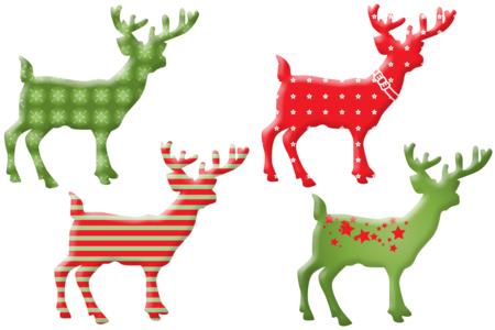 Rennes de Noël en bois décoré - Set de 8 - Motifs peint – 10doigts.fr
