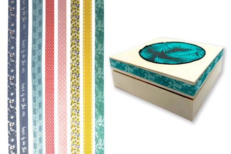Rubans tissu adhésifs, motifs assortis - 8 bandes - Rubans et cordons – 10doigts.fr
