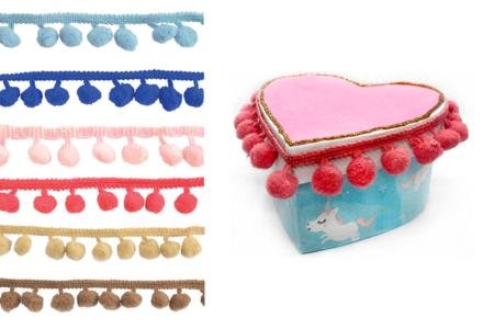 Galons à pompons en camaïeu de couleurs - Set de 2 - Rubans et cordons – 10doigts.fr