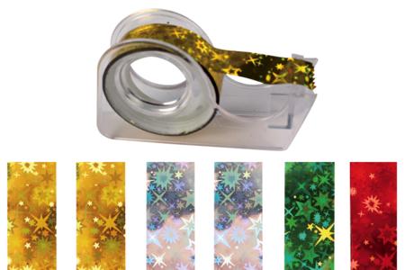 Rubans adhésifs - 6 rouleaux holographiques + dévidoir - Adhésifs colorés et Masking tape – 10doigts.fr
