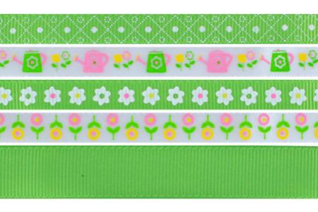 Rubans en camaïeu vert - Set de 5 - Rubans et ficelles – 10doigts.fr