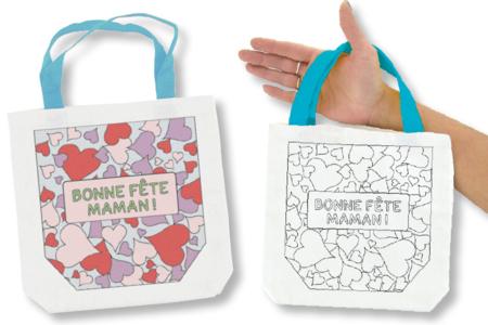 """Sac à colorier """"Bonne Fête Maman"""" - Support textile à customiser – 10doigts.fr"""