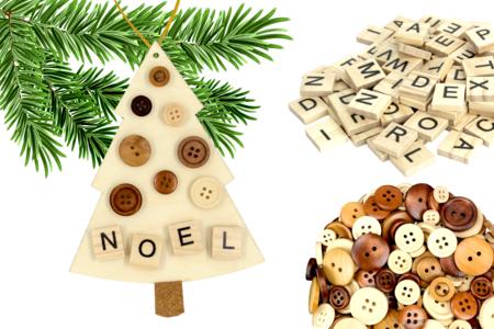 Suspension sapin à décorer avec des boutons - Noël – 10doigts.fr