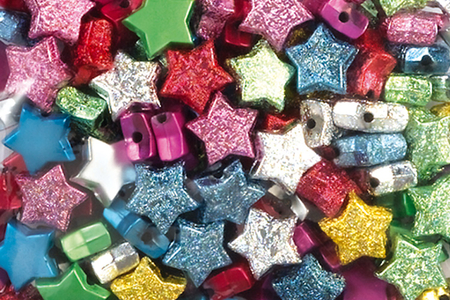 Perles étoiles métallisées et pailletées - 160 perles - Perles en plastique – 10doigts.fr