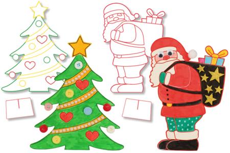 Coloriages de Noël à poser - Set de 2 - Supports pré-dessinés – 10doigts.fr