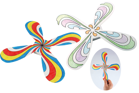 Boomerangs hélice à colorier - Set de 3 boomerangs - Supports pré-dessinés – 10doigts.fr