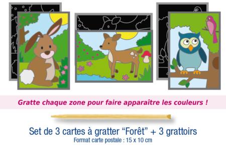 """Set de 3 cartes à gratter """"Forêt"""" + 3 grattoirs - Cartes à gratter, cartes à sabler – 10doigts.fr"""