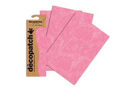 Papier Décopatch rose - 3 feuilles  N°667 - Papiers Décopatch – 10doigts.fr