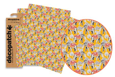 Papier Décopatch éléphants - 3 feuilles N°825 - Papiers Décopatch – 10doigts.fr