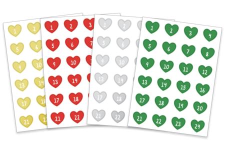 Stickers cœurs Calendrier de l'Avent - 96 gommettes - Gommettes Alphabet, messages – 10doigts.fr